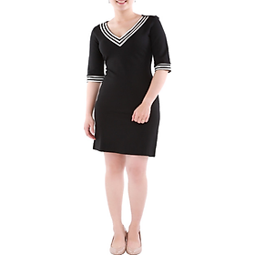 Đầm công sở phối trắng viền đen - DCS15