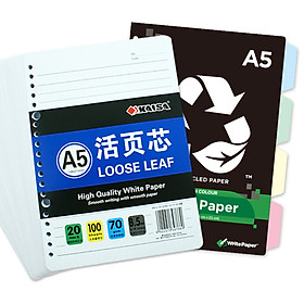 KAISA (KAISA) loose sheet of the core 100 pages, four-color index cardboard 20-hole A5 set of loose-leaf sheet for the loose-leaf paper,