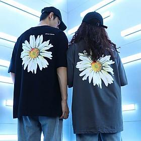 2 color【M-5XL】Fashion Short sleeve T-shirt Men Printed Chrysanthemum Pattern student couple short T-shirt unisex T-shirt Summer new style Oversize couple wear