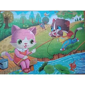 Tranh ghép bằng gỗ 60 miếng - Mèo con câu cá