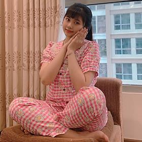 Bộ Đồ Nữ Mặc Trong Nhà Bộ Đồ Ngủ Hoa Cúc Dễ Thương DB002 MayBlue Chất Liệu Cate, Nhiều Họa Tiết