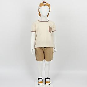Set bộ quần áo trẻ em tay lỡ thun cotton short jean màu nâu lạ mắt - Nhập khẩu Hàn Quốc