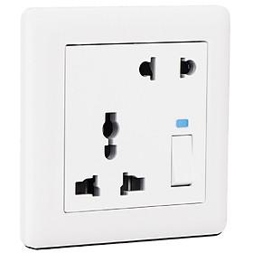 Ổ CẮM ĐIỆN ĐÔI ĐA NĂNG CÓ CÔNG TẮC BR025201 - Chuẩn Anh (British Standard/BS) MAKEL - Thổ Nhĩ Kỳ - Loại ổ cắm thông dụng,  dòng điện định mức 20A, phù hợp mọi không gian và mọi công trình