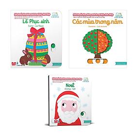 Combo 3  cuốn sách giúp bé làm quen với ngoại ngữ: Sách chuyển động - Song ngữ A-V:  Các mùa trong năm + Christmas Noel + Lễ phục sinh
