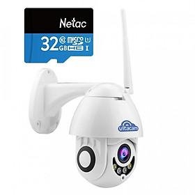 [TẶNG THẺ NHỚ 32G] Camera ngoài trời vitacam DZ1080 S xoay 350 độ, đàm thoại 2 chiều, chống lóa ,chống nước chuẩn IP68 - Hàng Chính Hãng