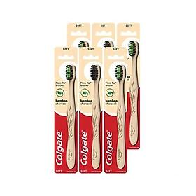 Bộ 6 bàn chải đánh răng Colgate than hoạt tính kháng vi khuẩn Bamboo Charcoal từ tre thiên nhiên