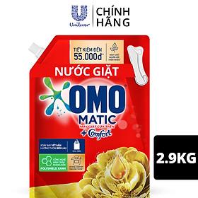 Nước giặt OMO Matic Comfort hương Tinh dầu thơm cho máy giặt cửa trên, xoáy bay vết bẩn, hương thơm bền lâu, túi 2.9kg