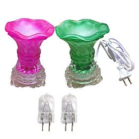 Combo 2 Đèn xông tinh dầu thủy tinh vặn và 2 bóng đèn (Giao màu ngẫu nhiên)