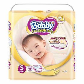 Tã Dán Siêu Mềm Bobby Extra Soft Dry Gói Siêu Lớn S74 Miếng (4-7kg)