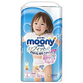 Tã/bỉm quần moony xanh không cộng miếng nội địa Nhật Bản size L bé gái 44 miếng ( dành cho bé từ 9-14kg)