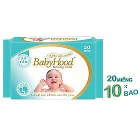Combo 10 Gói Khăn Ướt Em Bé BabyHood Không Mùi (20 Tờ x 10)