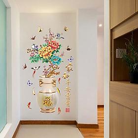 Decal dán tường trang trí Tết chào xuân- Bình hoa mẫu đơn- DSK2019B