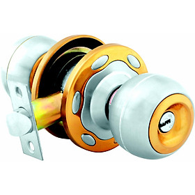 Ổ khóa cửa tay nắm tròn Việt Tiệp 04212 cò ngắn / cò dài, chất liệu inox màu trắng vàng dành cho các loại cửa thông phòng có chất liệu làm từ gỗ, nhựa, nhôm, sắt,..