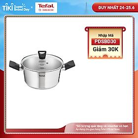 Nồi inox Tefal Simpleo B9054495 20cm (Trắng) - Có thể sử dụng cho bếp từ- Điều chỉnh mức nước dễ dàng - Hàng chính hãng