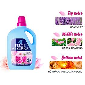 Nước xả vải hương nước hoa Ý hoa hồng và hoa sen siêu mềm mượt Felce Azzurra 3L