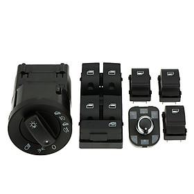 6pcs Car Headlight Control Electric Power Window Master Switch Rear View Mirror Adjust Knob Switch Control Kit for