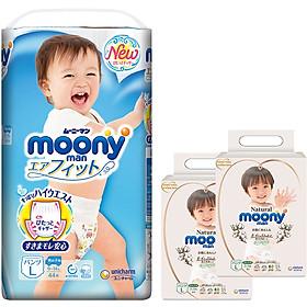 Tã Quần Cao Cấp Moony Nhật Bản bé trai L44 [Tặng 8 miếng Moony Natural cùng size]