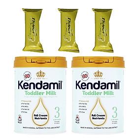 Combo 2 hộp Sữa bột nguyên kem KENDAMIL số 3 900g (cho bé từ 1-3 tuổi) - Tăng trưởng chiều cao và Phát triển trí não, tăng cân, tăng sức đề kháng – Tặng 3 bánh quế cuộn hiệu Kapad