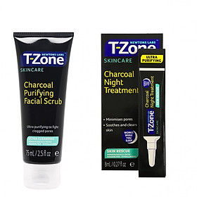 Combo Gel Chấm Mụn Ban Đêm Siêu Tốc T-Zone 8ml  & Tẩy Tế Bào Chết T-Zone Than Hoạt Tính 75ml