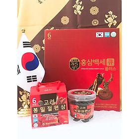 Combo Nước Hồng Sâm Nhung Hươu Linh Chi Q Plus (50ml * 30 gói) Và Hồng Sâm Lát Tẩm Mật Ong 200 Gram