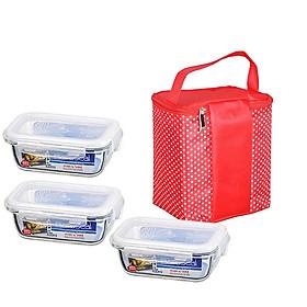 Bộ 3 hộp thủy tinh Lock & Lock 430ml tặng túi giữ nhiệt