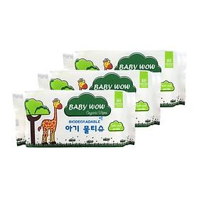 Combo 3 khăn ướt Organic 80 tờ không mùi Baby Wow (80 tờ x 3)
