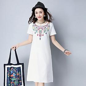 Đầm suông nữ họa tiết thổ cẩm 4D1216