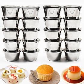 Combo 20 Khuôn Làm Bánh Flan Có Nắp Inox 304 Tặng 40 Khuôn Nhựa