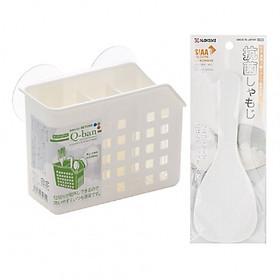Hình đại diện sản phẩm Combo 1 Ống cắm đũa thìa 2 ngăn có núm hít chân không + 1 Muôi xới cơm hàng nội địa Nhật Bản