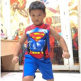 Bộ Quần Short Bé Trai Kèm Áo Thun Sát Nách Siêu Nhân Super Man Cho Bé Trai - HM242SNS