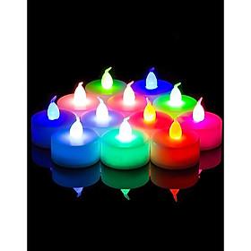 10 Viên Nến Tealight Điện Tử Màu Vàng & Nhiều Màu
