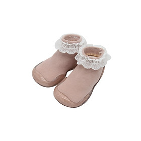 Giày bún tập đi dạng tất cao cổ đế cao su chống trượt cho bé gái-  phong cách Hàn Quốc Comfybaby GG003