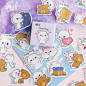 Bộ 45 sticker miếng dán hình Gấu dễ thương trang trí sổ tay thiệp, lưu bút, điện thoại, máy tính, nón bảo hiểm handmade siêu xinh