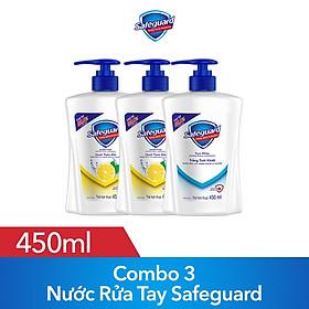 Combo 3 Nước Rửa Tay Safeguard 450ml (2 Nước Rửa Tay Safeguard Hương Chanh Thơm Mát 450ml + 1 Nước Rửa Tay Safeguard Trắng Tinh Khiết 450ml)