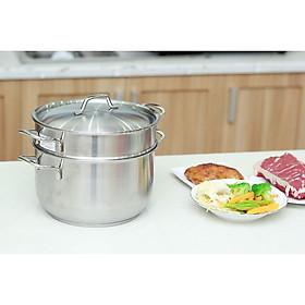 Bộ nồi xửng hấp inox 430 Fivestar Standard  3 đáy bếp từ nắp inox ( 24cm / 26cm ), tặng 2 vá canh