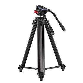 Chân Đỡ Máy Ảnh Tripod Hợp Kim Nhôm Andoer Và Tay Cầm Thủy Lực Kép Cho Máy Quay Phim DSLR Canon Nikon Sony (180 cm)(8Kg)