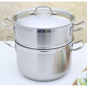 Bộ nồi xửng hấp inox 430 Fivestar standard nắp inox ( 28cm ),tặng 5 muỗng ăn ,3 đáy bếp từ , gas, hồng ngoại