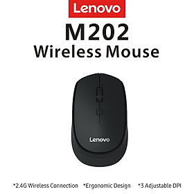 Lenovo M202 2.4GHz Wireless Mouse Office Mouse 4 Keys Mute Mice Ergonomic Design with 3 Adjustable DPI for PC Laptop