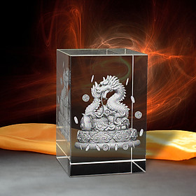 Tượng 3D Con Rồng (Thìn) - Trang Trí Xe Ô tô/ Bàn Làm Việc - Bằng Pha Lê