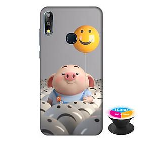 Ốp lưng điện thoại Asus Zenfone Max Pro M2 hình Heo Con Thả Bong Bóng tặng kèm giá đỡ điện thoại iCase xinh xắn - Hàng chính hãng