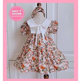 váy bé gái + TẶNG TURBAN KHI MUA VÁY NHƯ Ý HOUSE'S- đầm Công Chúa cho bé  -váy hoa nhí- cổ thuyền