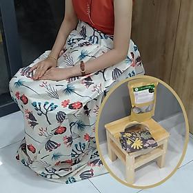 Ghế xông hơi vùng kín sau sinh xông hơi bà đẻ bằng  gỗ thông cao cấp cùng Váy xông  giữ nhiệt và Thảo dược xông hơi vùng kín