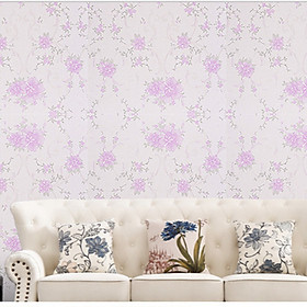 Cuộn 5m Decal Giấy Dán Tường Hai đóa hoa hồng tím (5m dài x 0.45m rộng