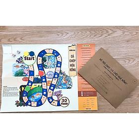 Đồ chơi giáo dục ĐƯỜNG ĐUA TRÍ TUỆ 3 IN 1 CÁ CHÉP HÓA RỒNG - Truyện tranh song ngữ - Nối số tô màu cho trẻ 2+
