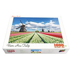 Bộ tranh xếp hình cao cấp 1000 mảnh ghép – Vườn Hoa Tulip (50x79cm)