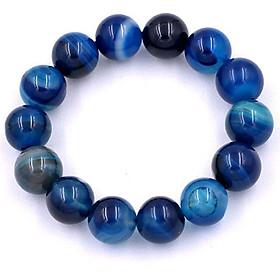 Vòng chuỗi đeo tay đá thạch anh xanh biển sọc 14 ly - Chuỗi hạt đeo tay đá phong thủy