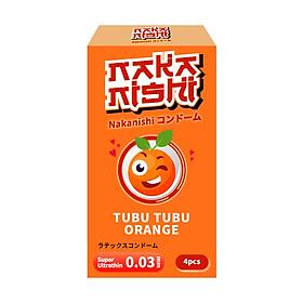 Hình đại diện sản phẩm Bao Cao Su Siêu Mỏng Hàng Nội Địa Nhật Bản NAKANISHI Cam - Siêu Mỏng Chân Thật 0,03 Hương Cam Đầy Vitamin Tình Yêu Lãng Mạn An Toàn - Hộp 4 chiếc