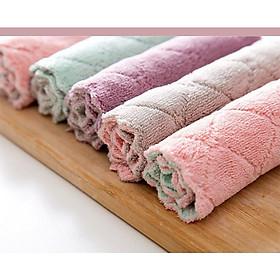 Combo 5 Chiếc Khăn Lau Chén Bát Đa Năng, Khăn lau chùi nhà bếp sạch mượt dễ giặt sạch, thấm hút cực tốt