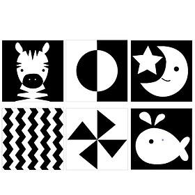 Bộ 6 thẻ dán tường KÍCH THÍCH THỊ GIÁC đen trắng mẫu mới, kích thước 18x18cm, giúp bé phát triển toàn diện