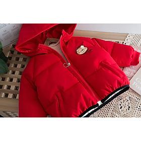 Áo phao trẻ em trần bông mặt sư tử, màu đỏ TE1965